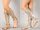 Strappy Cut Out Gladiator PU-Leather Knee High Flat Sandal Metallic Melo Lace Up