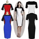 Womens Wear to Work Colorblock Fitted Bodycon Cocktail Party Pencil Dress XS~L