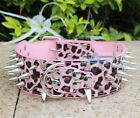 New Pink Leopard Spiked Studded PU Leather Dog Collar Large Dog Collar S M L XL