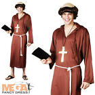 Monk of the Abbey Brown Robe Medieval Fancy Dress Friar Tuck Adult Mens Costume
