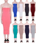 Womens New Plain Strapless Stretch Ladies Boob Tube Bodycon Bandeau Midi Dress
