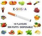 E SHISHA PEN PENS HOOKAH STICKS VAPOR SMOKE 500 PUFFS DISPOSABLE – 18 FLAVOURS
