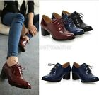 Womens Patent Lace Up Round Toe Chunky Heel Court Brogue Shoes Plus Size 2028
