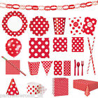Red Polka Dot Spots Spotty Birthday Party Supplies Tableware Decorations PS
