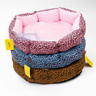 Leopard Cozy Soft Warm Cotton Pet Dog Cat Bed Nest with Plush Mat Pad Size M L