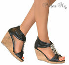 LADIES BLACK JEWELLED STRAPPY CORK WEDGE T BAR SANDALS GLADIATOR SHOES HEELS