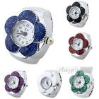 Women Quartz Pocket Finger Ring Watch Royal Flower Dial Arabic Numerals
