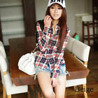 Womens Button Down Lapel Shirt Plaids & Checks Flannel Casual Shirts Tops Blouse