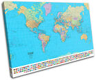 School World Atlas Maps Flags SINGLE CANVAS WALL ART Picture Print VA
