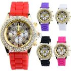 Women Ladies Girls 7Color Silver Crystal Stone Jelly Silicone Quartz Wrist Watch