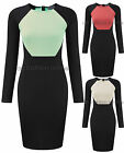 Womens Celeb Contrast Midi Ladies Block Colour Long Sleeve Stretch Dress 8-14
