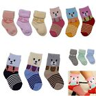 3Pairs Bear/Deer Infant Baby Unisex Boys Girls Winter Striped Floor Towel Socks