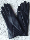 Ladies vintage gloves UNUSED 1960s navy blue 6 1/2 or 7 Vinyl PVC Faux leather