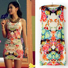 Women Floral Print Sleeveless Clubwear Party Summer Sexy Mini Dress
