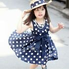 New Girls Bowknot Princess Dark Blue White Dots Navy Knee Length Daily Dress