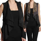 TheMogan Leopard Print or Solid Collar OPEN FRONT Sleeveless VEST