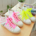 Candy color Womens Ladies Flat Lace Up Stud Sneakers High Top Shoes school Sweet