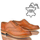MENS LEATHER CASUAL OFFICE WORK SMART LACE UP BROGUE TAN PARTY SHOES BOOTS SIZE