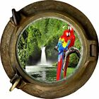 Huge 3D Porthole Parrots & Waterfall View Wall Stickers Mural Art Decal Wallpape