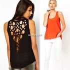 Stylish Girl Women Sexy Vest Back Hollow-Out Shirt Blouse Tops Crew Neck T Shirt