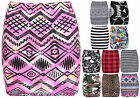 Womens Aztec Animal Tartan Stripe Comic Ladies Stretch Bodycon Short Mini Skirt
