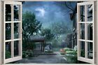 Huge 3D Window Fairy tale Fantasy House View Wall Stickers Film Decal Wallpaper