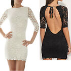 Women's Sexy Mini Slim Lace Dress Pencil FitCocktail Casual Party 3/4 Sleeve