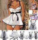 Women's Vogue Lingerie Satin Silk Look Padded  Babydoll Sleepwear Dress Hot