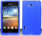 BLUE Silicone Case Skin Gel Cover for LG Optimus Select AS730