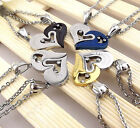 1Set Stainless Steel Couple Heart I Love You Women Men Pendant Chain Necklace US