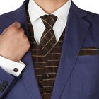 VS1035 Brown Checkers Mens Vest Waistcoat Set Tie Cufflinks Bow Tie Hanky Y&G