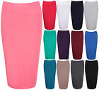 Womens New Stretch Ladies Wiggle Pencil Tube Bodycon Plain Office Midi Skirt
