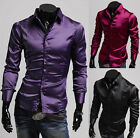 PJ Mens Plain Casual Collared Solid Shirts Formal Tops S S M XL JS