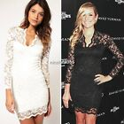 New Sexy Womens Ladies Black White Floral Lace Long Sleeve Dress M L XL