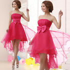 Strapless Lace Bow Asymmetric Hem Formal Dress Party Bridesmaid Evening Gowns