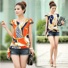 Womens Chiffon Retro Floral Printed Zipper Short Sleeve Casual Blouse Shirt Tops