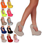Womens Peep Toe Ladies Club Party Platform High Heel Wedge Shoes Size 5-10