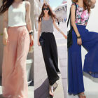 Lady Wide Leg Chiffon High Waist Pants Long Loose Culottes Trousers