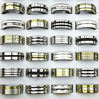 New 8pcs-40pcs Mix Silver Gold Stainless Steel Fashion Mens Rings Wholesale Lots