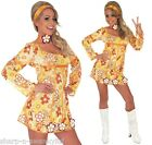 Ladies 1960s 70s Sexy Yellow Hippie Hippy Fancy Dress Costume Outfit & Plus Size
