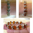 BALTIC GREEN or HONEY AMBER & STERLING SILVER TULIP HANDMADE LINK CHAIN BRACELET