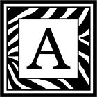 "Zebra Print Initial A - 3.75"" x 3.75"" - Choose Color - Vinyl Decal Sticker #3289"