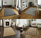 Hand Tufted Soft Wool & Viscose Rug Geometric Design Carpet Floor Mat Fusion