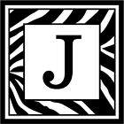 "Zebra Print Initial J - 3.75"" x 3.75"" - Choose Color - Vinyl Decal Sticker #3298"
