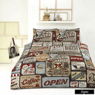 Signs Taupe Retro Home Vintage Quilt Cover Set - SINGLE DOUBLE QUEEN KING