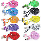 3FT Colorful USB Sync Data Charger Cable Braided Flat Cord For Apple iPhone 4 4S