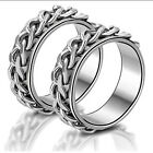 woo Fashion Men's Women's Titanium Stainless Steel Lovers Chain Cover Rings