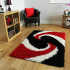 Thick Red Black Soft Shaggy Rug Easy Clean Non Shed Modern Rugs Small Large Rugs