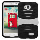 LG Optimus L70 Exceed 2 D325 MS323 Hybrid Armor Case Skin Cover w/Stand Rugged