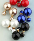 2014 New Arrived Red Purple Yellow Blue White Black Pearl Ball Ear Stud Earrings